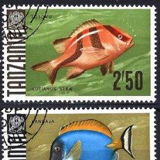 Sellos: TANZANIA 1967 - PECES - FAUNA MARINA - USADOS (O). Lote 178446830