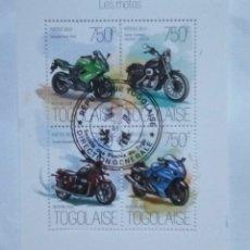 Sellos: TOGO MOTOCICLETAS HOJA BLOQUE DE SELLOS USADOS. Lote 179956717