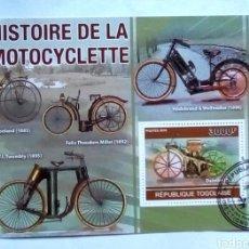Sellos: TOGO PIONEROS DE LA MOTOCICLETA HOJA BLOQUE DE SELLOS USADOS. Lote 180022676