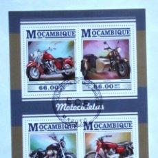 Sellos: MOZAMBIQUE MOTOCICLETAS HOJA BLOQUE DE SELLOS USADOS. Lote 180023156