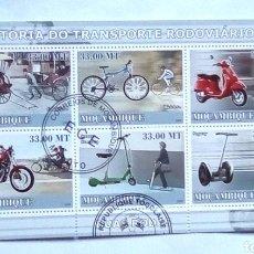 Sellos: MOZAMBIQUE MOTOCICLETAS HOJA BLOQUE DE SELLOS USADOS. Lote 180023685
