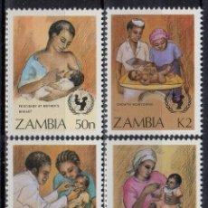 Sellos: ZAMBIA 1988 IVERT 437/40 *** CAMPAÑA PARA LA SUPERVIVENCIA DEL NIÑO. Lote 180089561