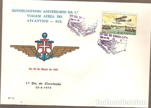MOZAMBIQUE & FDC ULTRAMAR FDC QUINCUAGÉSIMO CENTENARIO DEL I SOUTH ATLANTIC AIR TRAVEL 1972 (665) (Sellos - Extranjero - África - Otros paises)