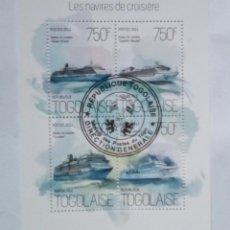 Sellos: TOGO CRUCEROS HOJA BLOQUE DE SELLOS USADOS. Lote 181412823