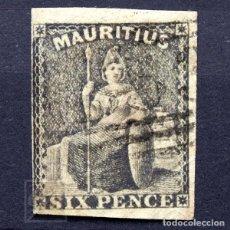 Sellos: MAURICIO 1862 ~ ALEGORÍA DE BRITANIA: SIX PENCE VIOLETA GRISÁCEO ~ SELLO USADO. Lote 181419452