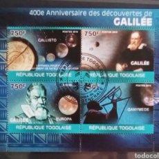 Sellos: TOGO ASTRONOMO GALILEO GALILEI HOJA BLOQUE DE SELLOS USADOS. Lote 182208443