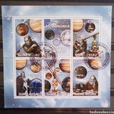 Sellos: GUINEA BISSAU ASTRONOMO HOJA BLOQUE DE SELLOS USADOS. Lote 182208537
