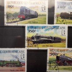 Sellos: SELLOS USADOS TRENES - REPUBLICA CENTROAFRICANA. Lote 183199581