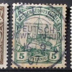 Sellos: SELLOS DE AFRICA DEL SUDESTE ALEMANA DE 1906-19, DOS NUEVOS Y UNO CIRCULADO. Lote 183739078