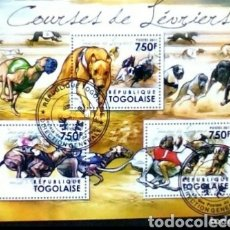 Francobolli: PERROS DE CARRERAS HOJA BLOQUE DE SELLOS USADOS RECIENTE DE TOGO. Lote 184650460