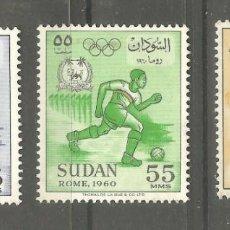 Sellos: SUDAN TRES VALORES,NUEVOS,SEÑAL FIJASELLOS,GOMA ORIGINAL,JJOO 1960. Lote 187384050