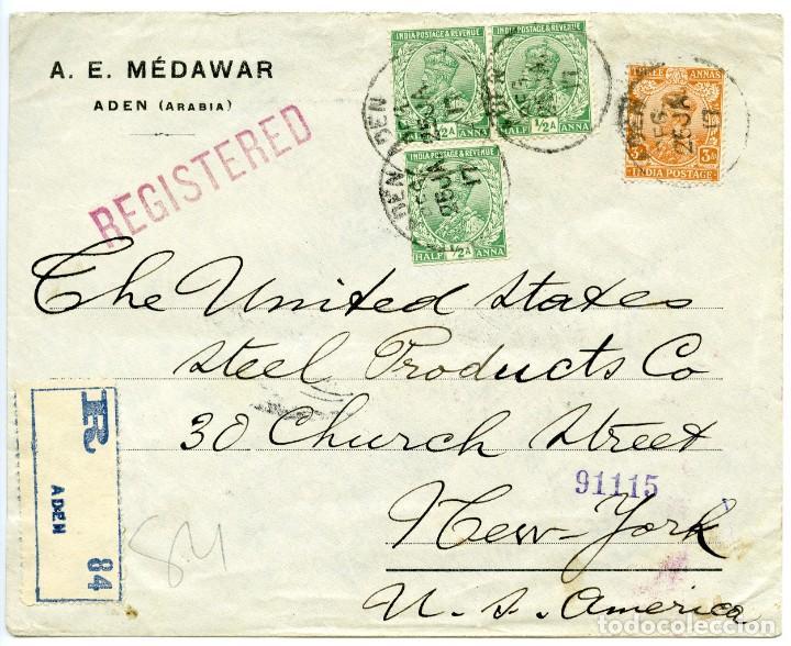 1917. CARTA CERTIFICADA DE ADEN (ARABIA) A NUEVA YORK, USA. SELLOS DE INDIA BRITÁNICA (Sellos - Extranjero - África - Otros paises)