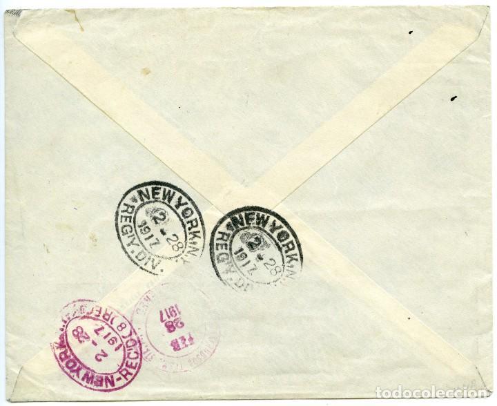 Sellos: 1917. Carta certificada de Aden (Arabia) a Nueva York, USA. Sellos de India Británica - Foto 2 - 188757697