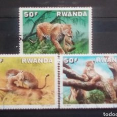 Sellos: RWANDA FELINOS SERIE DE SELLOS USADOS. Lote 189741977