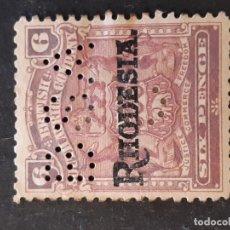 Sellos: RODESIA RHODESIA, 1909, YVERT 7, PERFORADO BSA. Lote 191335635