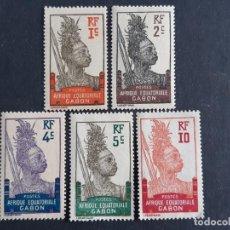 Sellos: GABÓN, COLONIAS FRANCESAS, 1910-18, YVERT 49,50,51,52,53*. Lote 191482723