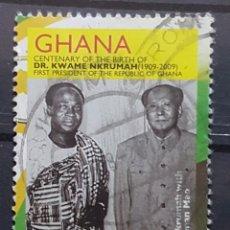 Sellos: GHANA_SELLO USADO_KWAME NKRUMAH MAO CENTENARIO NACIMIENTO AÑO 2009 LOTE 7146. Lote 194293121
