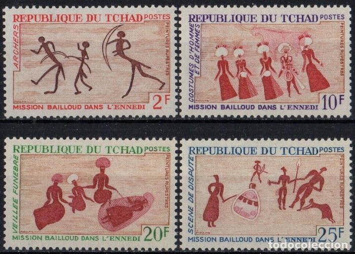 TCHAD 1968 IVERT 161/64 *** ARTE - PINTURAS RUPESTRES (Sellos - Extranjero - África - Otros paises)