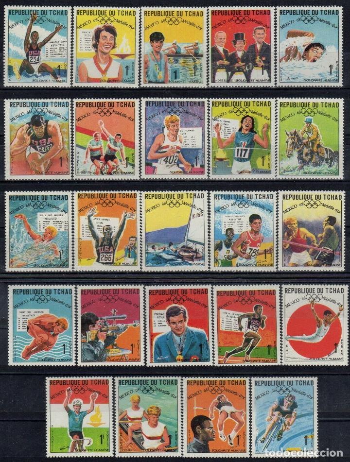 TCHAD 1969 IVERT 183/207 *** MEDALLAS DE LOS JUEGOS OLIMPICOS DE MEXICO - DEPORTES (Sellos - Extranjero - África - Otros paises)