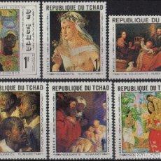 Sellos: TCHAD 1969 IVERT 207/12 *** ARTE - OBRAS DE MURILLO - RUBENS - BEZOMBES - VENETO Y GAUGIN . Lote 194491338