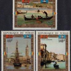 Sellos: TCHAD 1972 AEREO IVERT 117/19 *** ARTE - PINTURA - SALVAR VENECIA. Lote 194492051