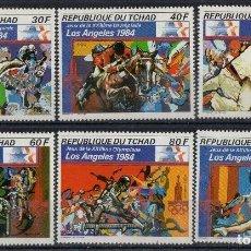 Sellos: TCHAD 1984 SCOT 399/404 *** JUEGOS OLIMPICOS DE LOS ANGELES - DEPORTES. Lote 194492372