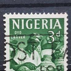Sellos: NIGERIA_SELLO USADO_TALLADOR MADERA 3P_YT-NG 101 AÑO 1961 LOTE 7580. Lote 194611478