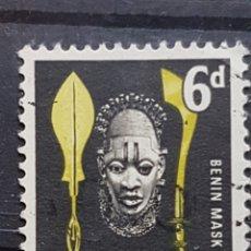 Sellos: NIGERIA_SELLO USADO_MASCARA LANZA MACHETE 6P_YT-NG 103 AÑO 1961 LOTE 7597. Lote 194612093