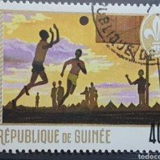 Sellos: GUINEA_SELLO USADO_SCOTS JUGANDO BALONCESTO 40F_YT-GN 389 AÑO 1969 LOTE 9331. Lote 195081120
