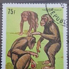 Sellos: GUINEA_SELLO USADO_CHIMPANCES 75F VERDE_YT-GN 384 AÑO 1969 LOTE 9348. Lote 195081723