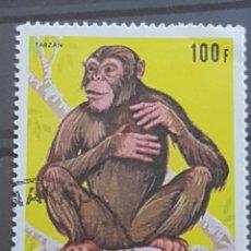 Sellos: GUINEA_SELLO USADO_CHIMPANCE 100F AMARILLO_YT-GN 385 AÑO 1969 LOTE 9355. Lote 195082178