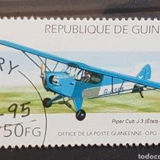 Sellos: GUINEA_SELLO USADO_AVION PIPER CLUB J-3_YT-GN 1054 AÑO 1995 LOTE 9379. Lote 195082980