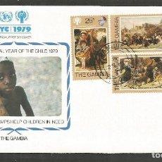 Sellos: GAMBIA SOBRE PRIMER DIA DE CIRCULACION YVERT NUM. 385/387. Lote 195508545