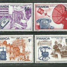 Sellos: RWANDA 1976 IVERT 721/28 *** CENTENARIO DE LA PRIMERA LINEA TELEFONICA. Lote 196740100