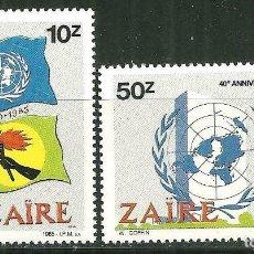 Sellos: ZAIRE 1985 IVERT 1216/7 *** 40º ANIVERSARIO NACIONES UNIDAS Y 25º ANIVERSARIO DE LA ENTRADA DE ZAIRE. Lote 196750738
