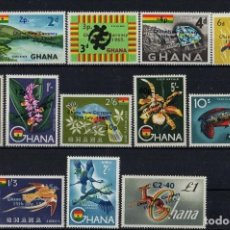 Sellos: GHANA 1965 IVERT 201/11 Y AEREO 11/12 *** NUEVA MONEDA. Lote 196901562