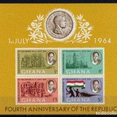 Sellos: GHANA 1964 HB IVERT 13 *** 4º ANIVERSARIO DE LA REPUBLICA. Lote 196905497