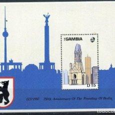Sellos: GAMBIA 1988 HB IVERT 47 *** 750º ANIVERSARIO DE LA FUNDACIÓN DE BERLIN. Lote 196906047
