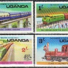 Sellos: UGANDA 1976 IVERT 118/21 *** TRANSPORTES FERROVIARIOS EN AFRICA - TRENES. Lote 197723785