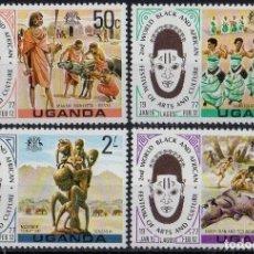 Sellos: UGANDA 1977 IVERT 130/33 *** 2º FESTIVAL MUNDIAL AFRICANO DEL ARTE Y LA CULTURA. Lote 197724360