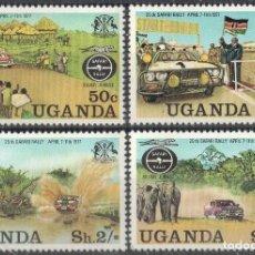 Sellos: UGANDA 1977 IVERT 134/37 *** 25º ANIVERSARIO DEL RALLY SAFARI - COCHES. Lote 197724532