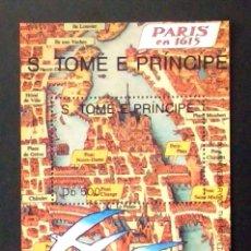 Francobolli: PLANO ANTIGUO DE PARIS HOJA BLOQUE DE SELLOS NUEVOS DE ST. TOME Y PRINCIPE. Lote 199203725