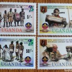 Sellos: UGANDA, BOYS-SCOUTS 1983, MNH (FOTOGRAFÍA REAL). Lote 199501820
