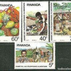 Sellos: RWANDA 1987 IVERT 1233/36 *** AÑO DE LA AUTOSUFICIENCIA ALIMENTARIA. Lote 199637157