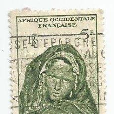 Sellos: SELLO USADO DE 1947 AFRIQUE OCCIDENTAL FRANÇAISE- MAURITANIE- JEUNE FEMME DE TIN-DEILA. Lote 203080835