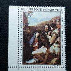 Sellos: REPU. DAHOMEY, 100F, ARTE Y RELIGION, AÑO1966. NUEVO. Lote 203826565