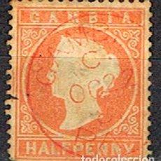 Sellos: GAMBIA Nº 5 (AÑO 1880), LA REINA VICTORIA DE INGLATERRA, USADO. Lote 204148010