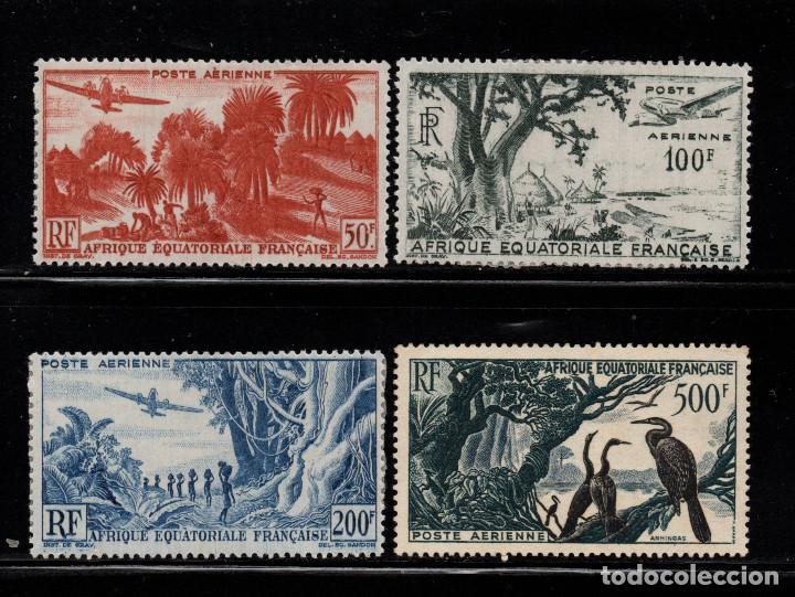 AFRICA ECUATORIAL FRANCESA AEREO 50/53* - AÑO 1947 - PAISAJES - FAUNA - AVES (Sellos - Extranjero - África - Otros paises)