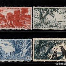 Sellos: AFRICA ECUATORIAL FRANCESA AEREO 50/53* - AÑO 1947 - PAISAJES - FAUNA - AVES. Lote 206385836