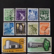 Sellos: NIGERIA YVERT 96/109 SIN EL 99. SERIE CORTA USADA Y NUEVA CON CHARNELA (VALORES ALTOS) SERIE BÁSICA. Lote 206420357